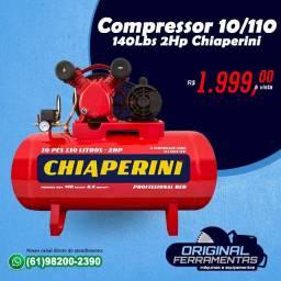 Compressor de ar 10 pés 110 litros 2 hp 140 lbs Chiaperini