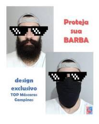Máscara para barbudo com elástico regulável atrás da cabeça