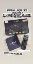 TV BOX 64GB MEM + 4GB RAM AND.10.1 WI-FI 5G, LOJA EM CACHOEIRINHA