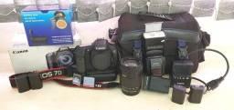 Canon 7D + lente e acessórios