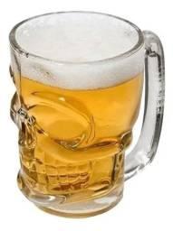 Caneca Caveira 360ml Lyor Skull Rock Vidro Chopp E Cerveja