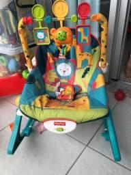 Cadeira de descanso vibra e toca fisher price