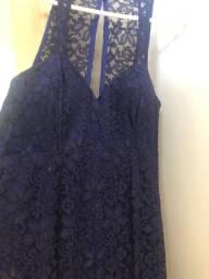 Vestido longo todo de renda azul