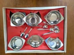 Conjunto para sobremesa aço inox Elmo Gazola- 12 peças- nunca usado