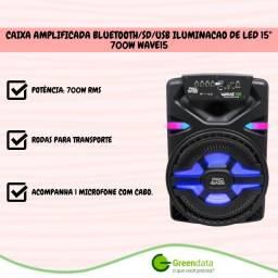 Caixa Amplificada Bluetooth/Sd/Usb Iluminação de Led 15'' 700W