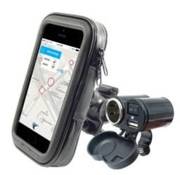 Kit Motoboy Tomada 5v 12v Carregador Celular Gps + Suporte Bolsa + Acendedor de cigarros