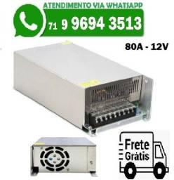 Fonte Chaveada 80A 12V 960W Bivolt Camera Som Cftv Fita LED (Nova)