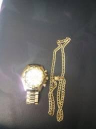 Relógio invicta e cordão de moeda