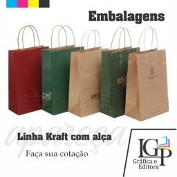 Sacolas Kraft para delivery / e-commerce / Loja