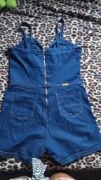 Macaquinho Jeans No Plus Size 46 Veste Até 48