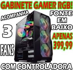 Gabinete Gamer Controlavel (Companha Grátis 3 Coolers RGB com Controlador!)