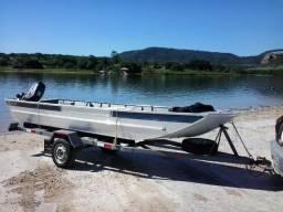 Kit. Carretinha e Barco de alumínio, bico semi chato 5m - 2012