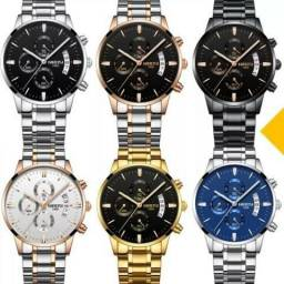 Relógio Blindado Super Luxo Nibosi Cronógrafo Funcional Tampa pressão entrega grátis Curit