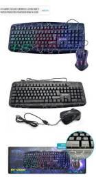 R$169,90 - Kit Teclado Mouse Gamer Usb Iluminado Led Rgb Bk-g600 Exbom
