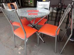 Jogo mesa redondo + 4 cadeiras ferro cromadas. 0,80 D. Pçs novas