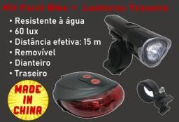 Kit Bike Farol + Lanterna Traseira Led Resistente À Água