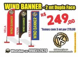 Wind Banner (Bandeira) 2m Kit Completo *Fly Flag Impresso dos 2 lados *São José SC