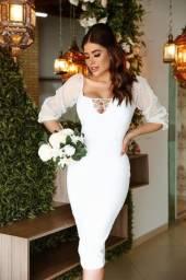 Vestido midi feminino casamento civil noivas