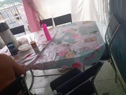 Vendo mesa de vidro 6 cadeira
