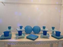Itens de decoração azul