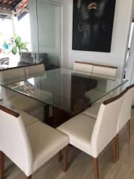 Mesa de jantar de vidro seminova