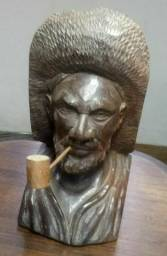Escultura antiga em madeira 30 cm Altura.