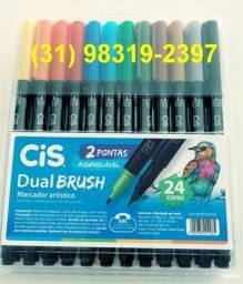 Marcador artístico dual brush c/24 marca cis