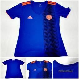 Camisa Colômbia Adidas Feminina Futebol Azul