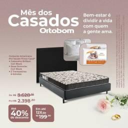 Colchão, Base, Cabeceira + 2 travesseiros