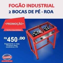 Fogão industrial Alta Pressão 2 Bocas Com Pé / marca ROA - Entrega grátis