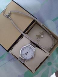 Combo Relógio Lince Original e Jóias em Prata