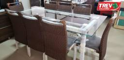 Promoção de Fevereiro - Mesa Com 8 Cadeiras 210x100