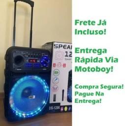 Caixa Musical (Potencia 5000W) Bluetooth Microfone S/ fio + Controle! Frete Grátis!