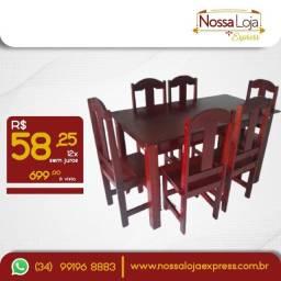 Mesa de madeira 6 cadeiras