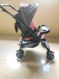 Carrinho de Bebê Galzerano Milano Reversível - 0 a 15kg ? Preto/Grafite/Rosa