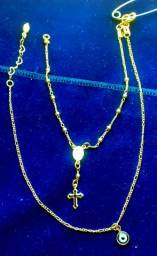 Kit Tornozeleira Olho Grego e Pulseira com Crucifixo Folheado a Ouro