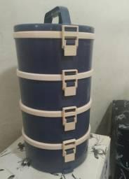 Conjunto de marmita tekcor usada em ótimo estado 4 compartimentos azul