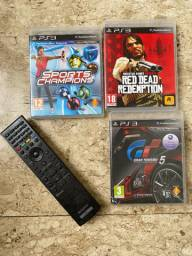 3 Jogos + controle PS3 : Red dead redemption + Gran Turismo 5 + Sports champions