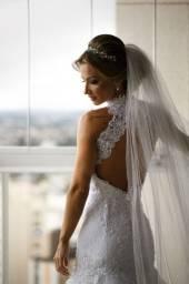 Vestido de Noiva de Renda (Impecável)