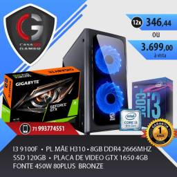 PC Gamer i3 9100F Nvidia GTX 1650 4gb Fonte 450w 8gb ddr4 SSD120 ou HD 500gb