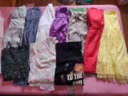 Combo de calças, shorts, saias, blusas, camisas, bolsas e acessórios