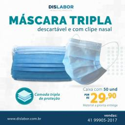 Máscara Descartável Cirúrgica Tripla Proteção Caixa 50un