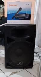 1 caixa ativo 2 micro-fone sem fio v/t