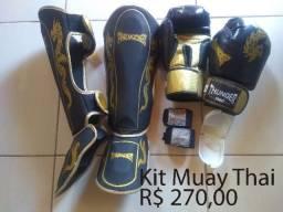 Kit Muay Thai Thunder - Luva, caneleira, bandagem e protetor bucal