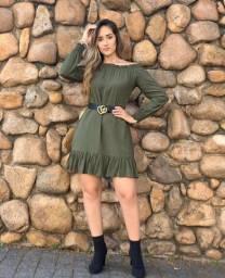 Vestido verde de viscose TAM G