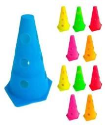6x Mini Cone Sinalização Esportivo 23 Cm Agilidade Furado