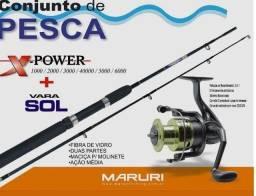 Conjunto de Pesca barato vara e molinete Promoção e Brinde!!!