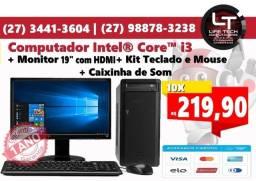 Computador Completo Intel Core i3  Mem 4GB  SSD 120GB   Tela 19  NOVO  Garantia 1 ano
