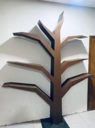 Organizador de livros prateleiras árvore toda em mdf