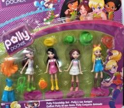 Cartela Polly Pocket C/ 4 bonecas + acessórios